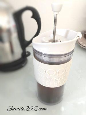 ボダムのトラベルプレスでフレンチプレスコーヒー