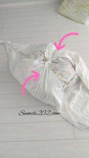 不要なシーツのリメイク・活用法★羽毛布団収納